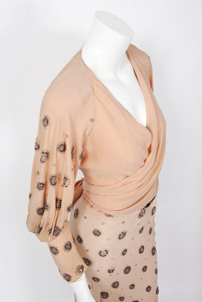 1932 Tallulah Bankhead Movie-Worn Beaded Blush Silk Bias Cut Deco Gown & Jacket For Sale 7