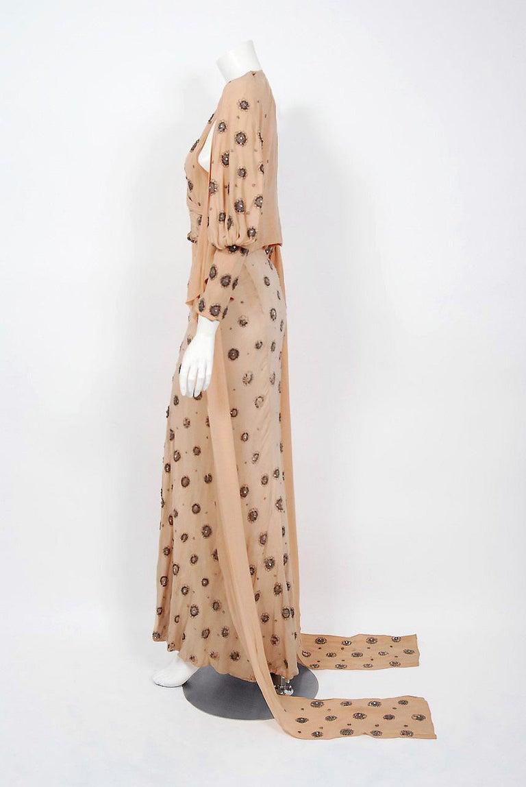 1932 Tallulah Bankhead Movie-Worn Beaded Blush Silk Bias Cut Deco Gown & Jacket For Sale 8
