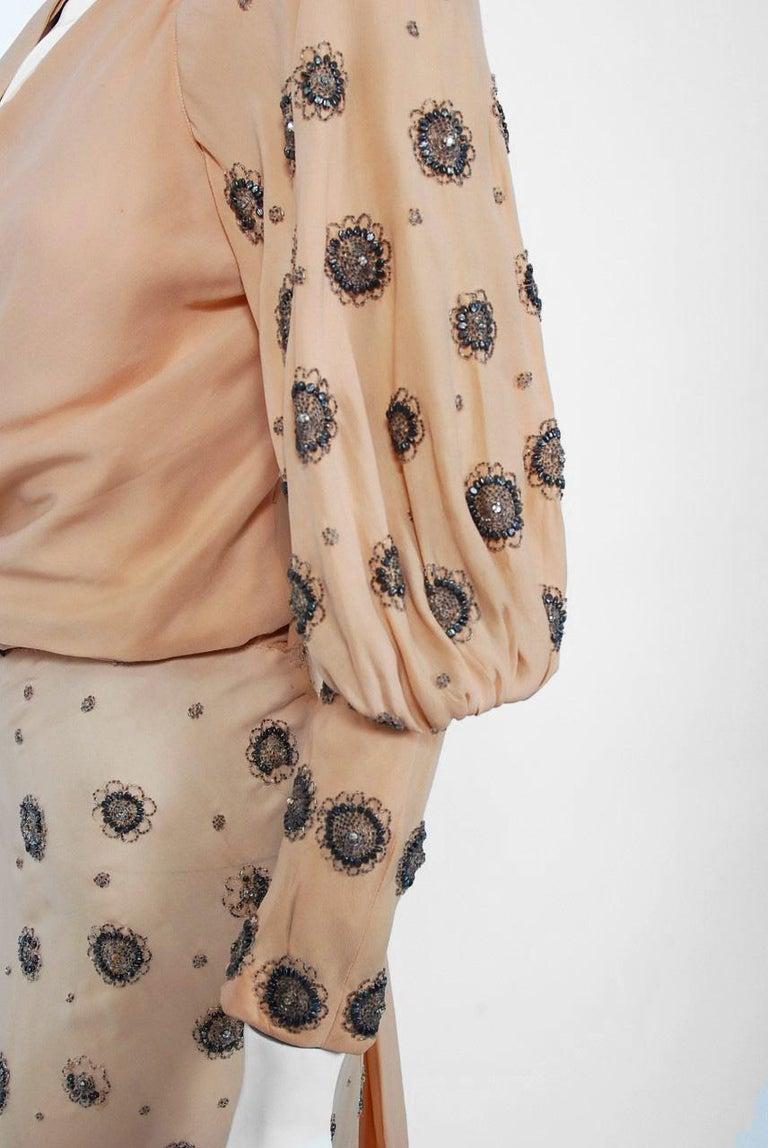 1932 Tallulah Bankhead Movie-Worn Beaded Blush Silk Bias Cut Deco Gown & Jacket For Sale 9