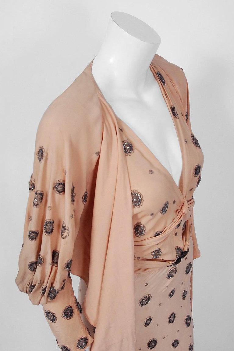 1932 Tallulah Bankhead Movie-Worn Beaded Blush Silk Bias Cut Deco Gown & Jacket For Sale 10