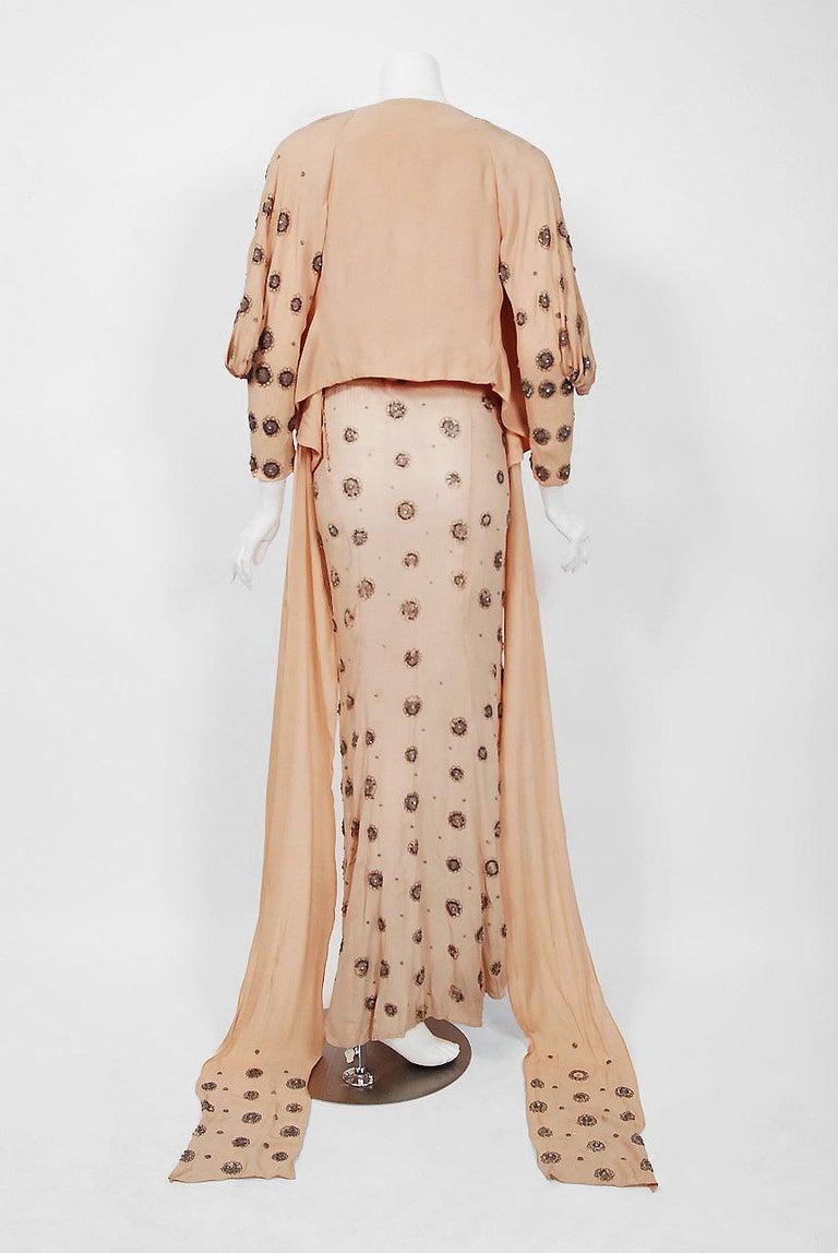 1932 Tallulah Bankhead Movie-Worn Beaded Blush Silk Bias Cut Deco Gown & Jacket For Sale 11