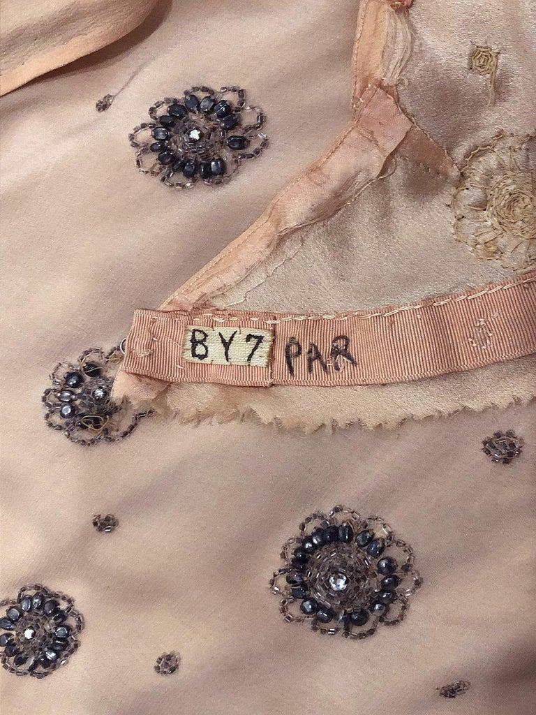 1932 Tallulah Bankhead Movie-Worn Beaded Blush Silk Bias Cut Deco Gown & Jacket For Sale 12