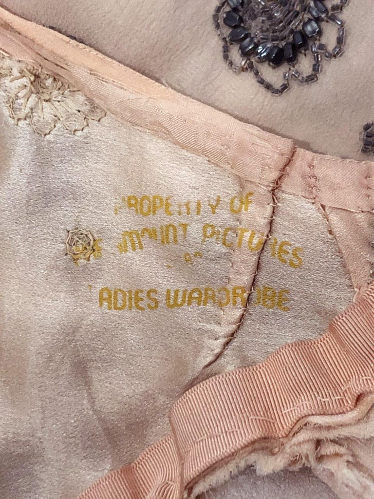 1932 Tallulah Bankhead Movie-Worn Beaded Blush Silk Bias Cut Deco Gown & Jacket For Sale 13
