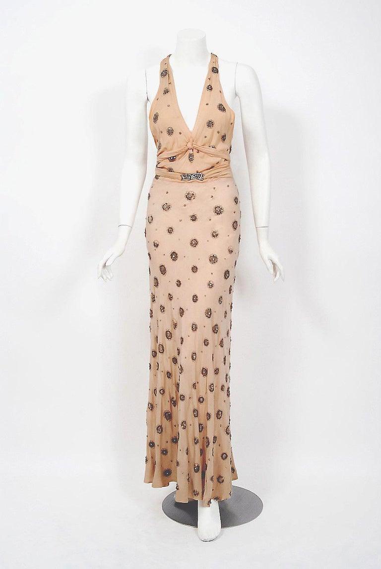 1932 Tallulah Bankhead Movie-Worn Beaded Blush Silk Bias Cut Deco Gown & Jacket For Sale 1