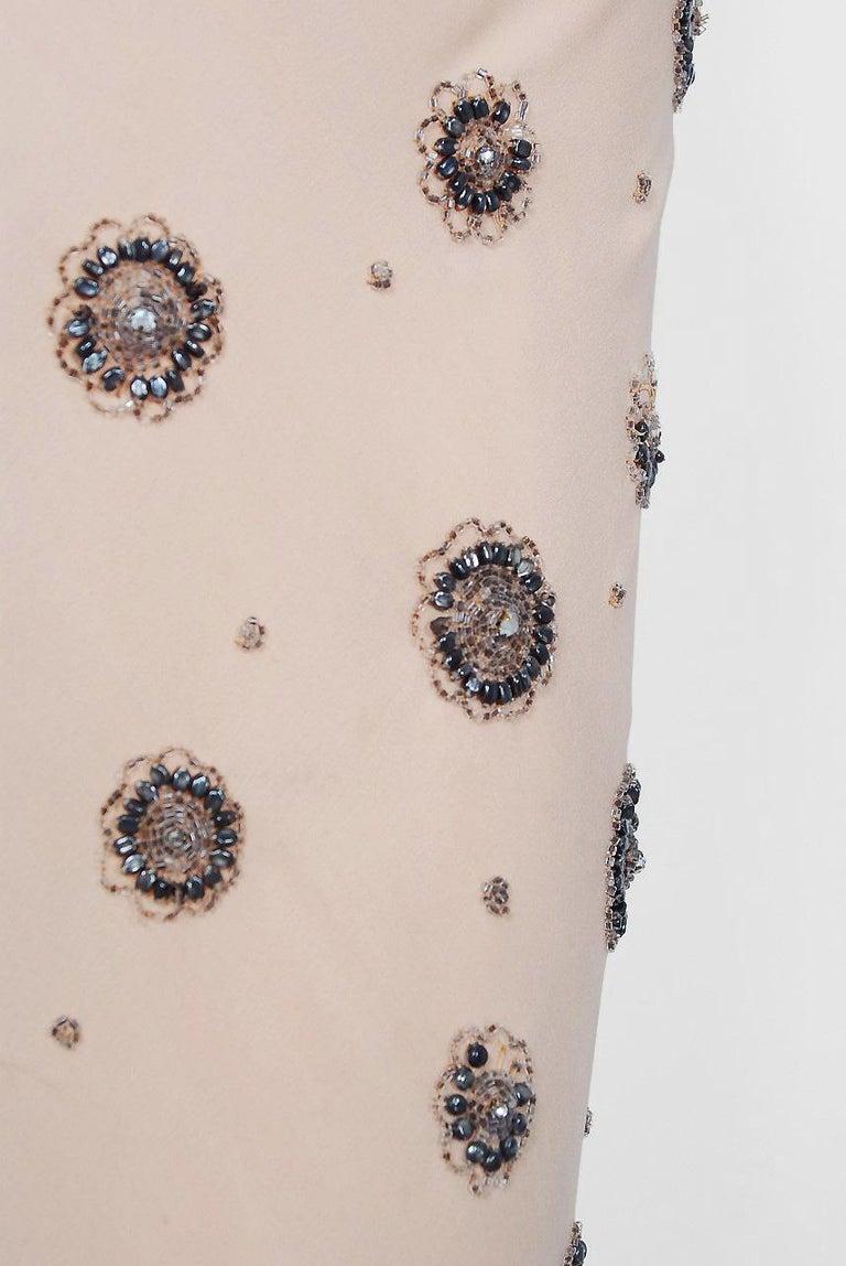 1932 Tallulah Bankhead Movie-Worn Beaded Blush Silk Bias Cut Deco Gown & Jacket For Sale 4