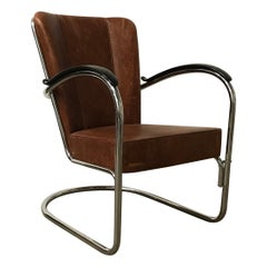 1932, W.H. Gispen for Gispen, 412 Easy Chair in Vintage Brown Leather