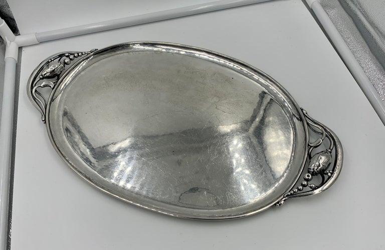 Women's or Men's 1933-1944 Georg Jensen Blossom Tray 2 Antique Denmark Sterling Silver For Sale
