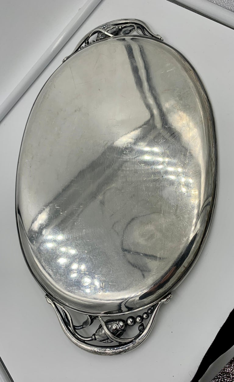 1933-1944 Georg Jensen Blossom Tray 2 Antique Denmark Sterling Silver For Sale 1