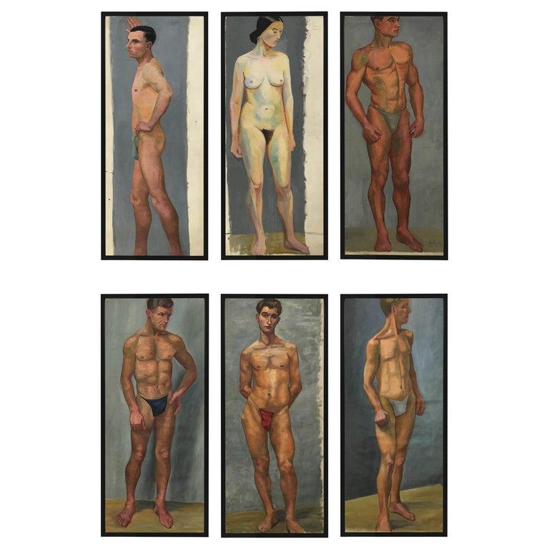 1933 Art Deco Life-Size Portfolio Study Oil Painting by Olga von Mossig-Zupan For Sale
