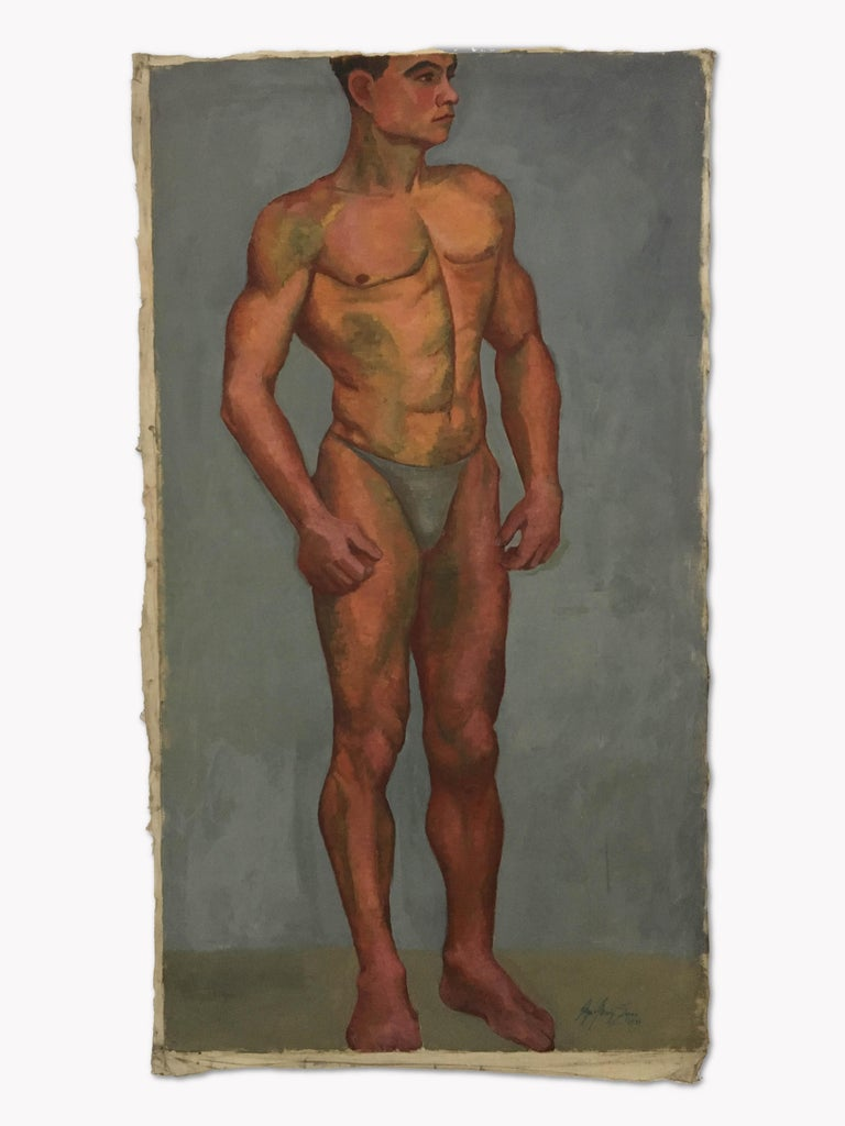 1933 Art Deco Life-Size Portfolio Study Oil Painting by Olga von Mossig-Zupan For Sale 10
