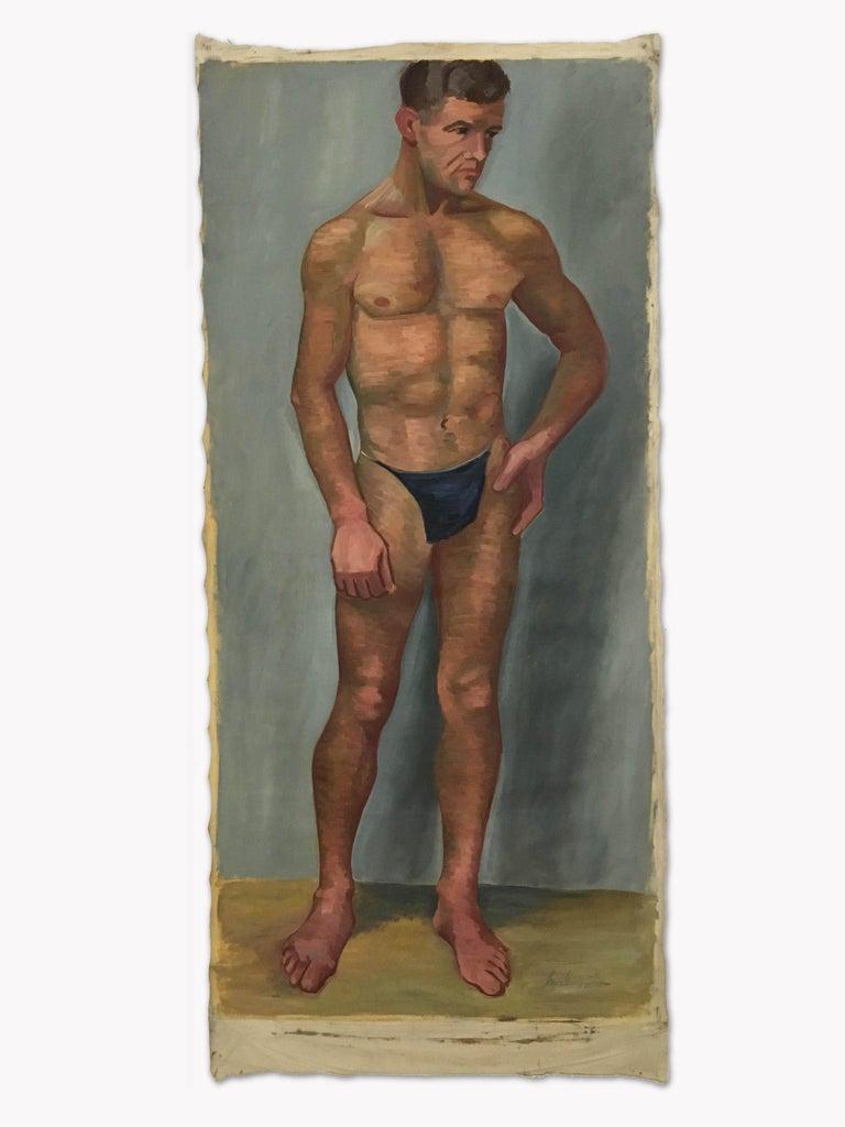 1933 Art Deco Life-Size Portfolio Study Oil Painting by Olga von Mossig-Zupan For Sale 11