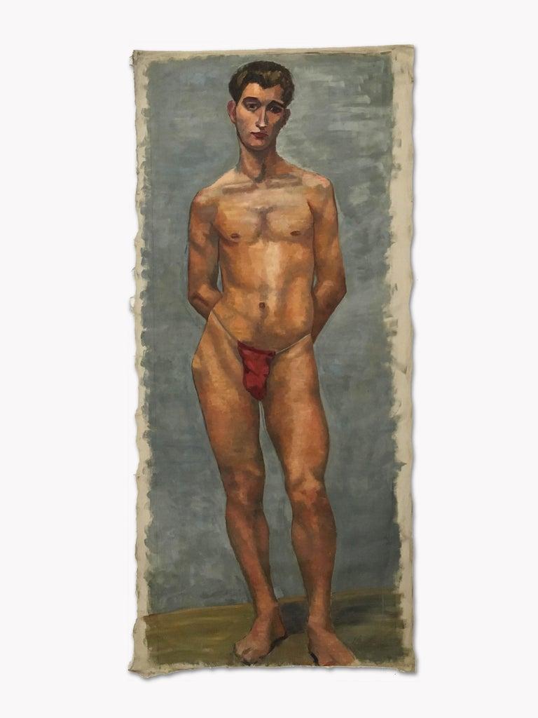 1933 Art Deco Life-Size Portfolio Study Oil Painting by Olga von Mossig-Zupan For Sale 12