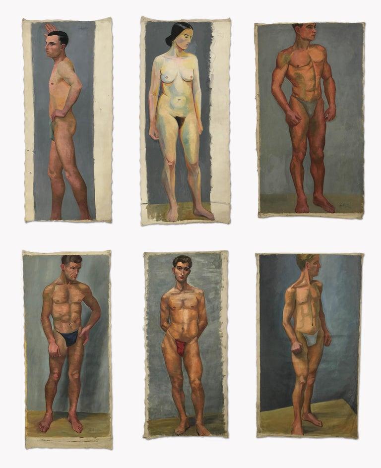 Canvas 1933 Art Deco Life-Size Portfolio Study Oil Painting by Olga von Mossig-Zupan For Sale