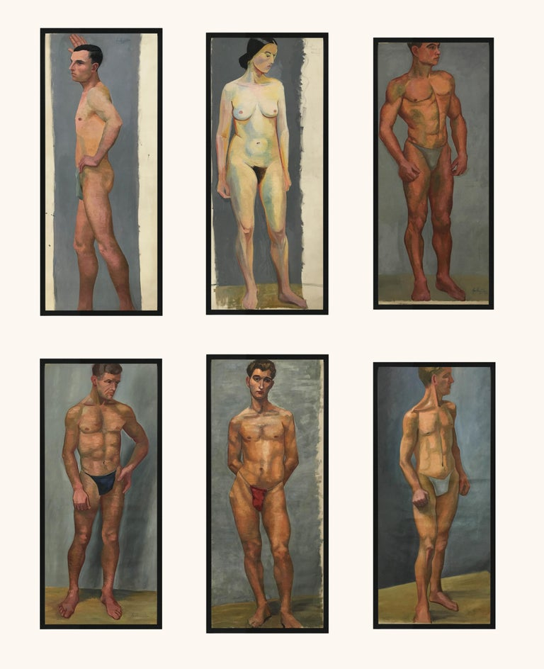 1933 Art Deco Life-Size Portfolio Study Oil Painting by Olga von Mossig-Zupan For Sale 1