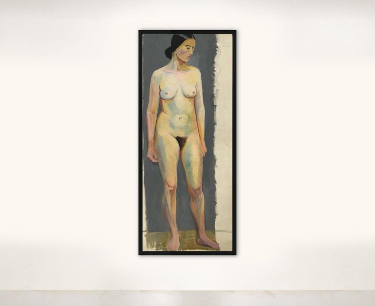 1933 Art Deco Life-Size Portfolio Study Oil Painting by Olga von Mossig-Zupan For Sale 2