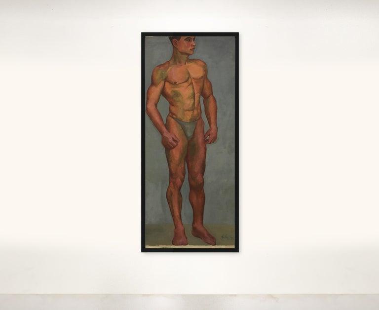 1933 Art Deco Life-Size Portfolio Study Oil Painting by Olga von Mossig-Zupan For Sale 4