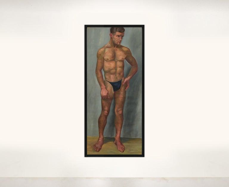 1933 Art Deco Life-Size Portfolio Study Oil Painting by Olga von Mossig-Zupan For Sale 5