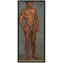 1933 Art Deco Male Men Nude Portrait Study Oil Painting by Olga von Mossig-Zupan