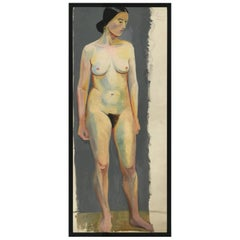 1933 Female Nude Portrait Study Oil Painting by Olga von Mossig-Zupan