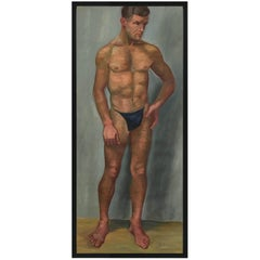 1933 Male 'Blue' Men Nude Portrait Study Oil Painting by Olga von Mossig-Zupan