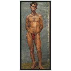 1933 Male 'Red' Men Nude Portrait Study Oil Painting by Olga von Mossig-Zupan