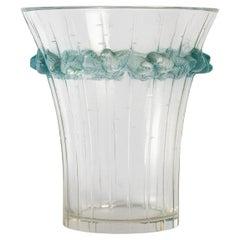 1933 Original René Lalique Boulouris Vase Frosted Blue Stained Glass, Birds