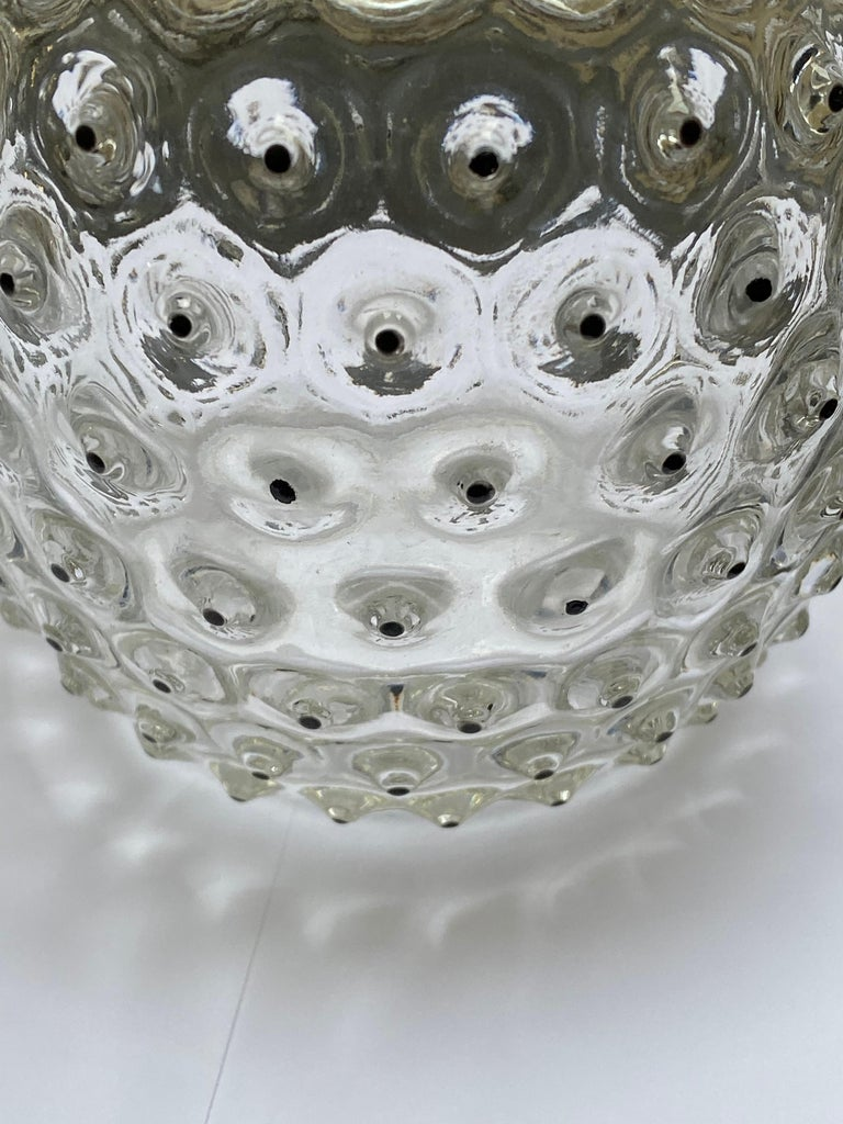 French 1933 René Lalique Cactus Vase in Clear Glass with Original Black Enamel For Sale