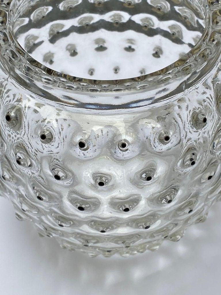 Molded 1933 René Lalique Cactus Vase in Clear Glass with Original Black Enamel For Sale