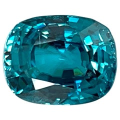 19.34 Carat Cushion Shape Blue Zircon, Unset Gemstone