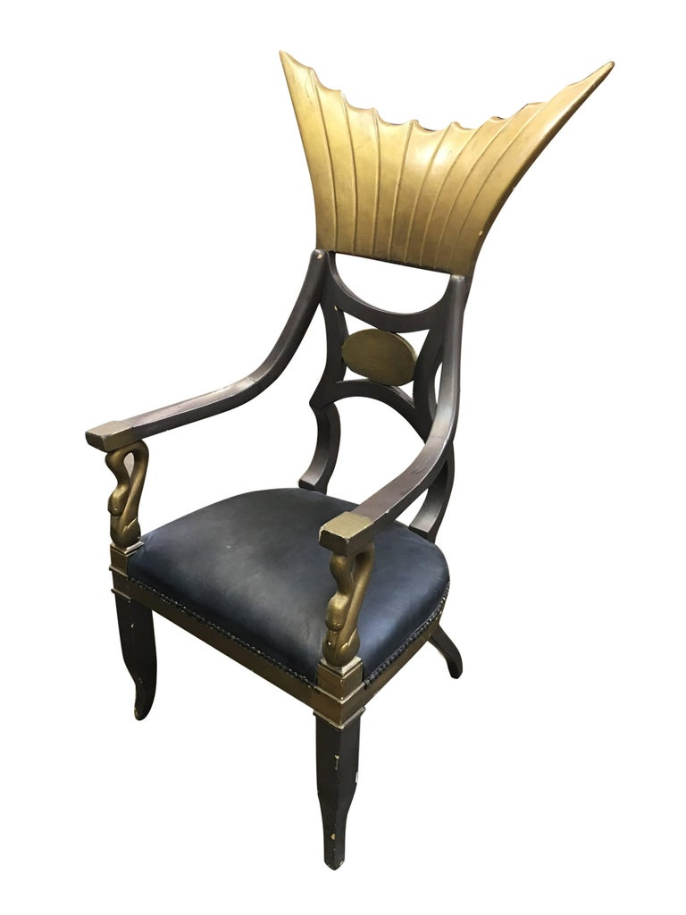 Egyptian Revival 1934 Cleopatra Prop Egyptian Throne Chair Used by Claudette Colbert For Sale