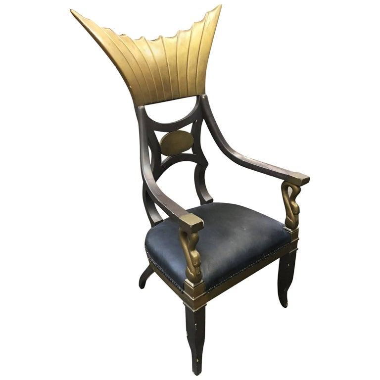 1934 Cleopatra Prop Egyptian Throne Chair Used by Claudette Colbert For Sale