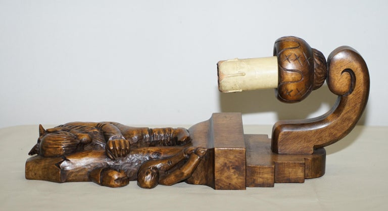 1934 Hand Carved Set of Asbjornsen and Moe Norway Fairy Tale Wall Sconces Lights For Sale 2