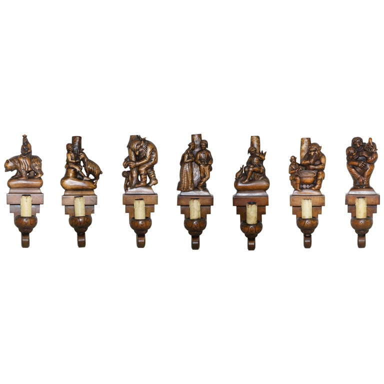 1934 Hand Carved Set of Asbjornsen and Moe Norway Fairy Tale Wall Sconces Lights For Sale