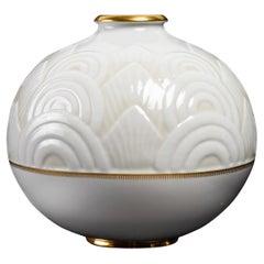 1934 Manufacture De Sèvres, Round Vase in Enameled Porcelain by Marcel Prunier