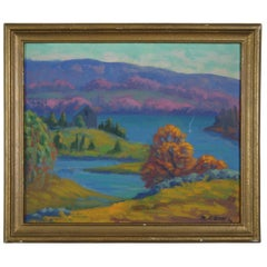 1934 Ralph C. Scott Smithfield Reservoir Landscape Oil Painting on Board