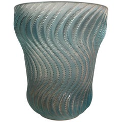 1934 René Lalique Actinia Vase in Frosted Glass with Blue Patina