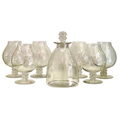 1934 Rene Lalique Set 6 Liquor Wine Degustation and Decanter Glasses Vougeot