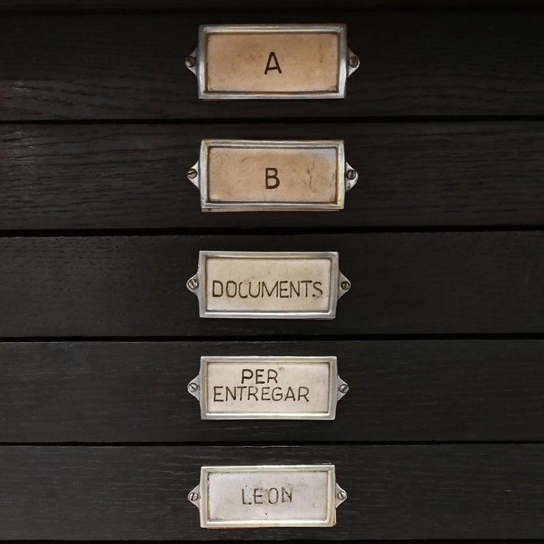 1934 Set of Art Deco Architect Bureau Furniture, Oak, Aluminum, Spain, Barcelona For Sale 8