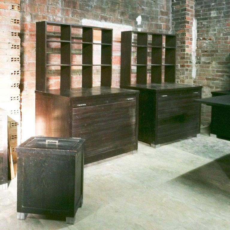 1934 Set of Art Deco Architect Bureau Furniture, Oak, Aluminum, Spain, Barcelona For Sale 11