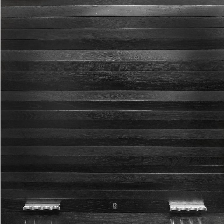 1934 Set of Art Deco Architect Bureau Furniture, Oak, Aluminum, Spain, Barcelona For Sale 2