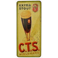 1934 Tin Advertising Sign for Belgian Beer Wielemans