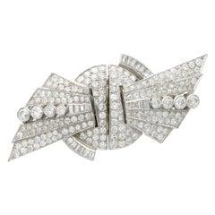 1935 10.95 Carat Diamond and Platinum Duette Double Clip Brooch