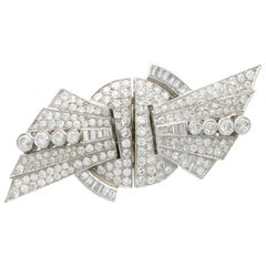 1935 10.95 Carat Diamond and Platinum Duette Double Clip Brooch