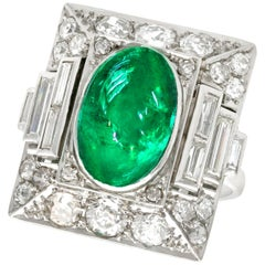 1935 Antique 3.40Ct Cabochon Cut Emerald and 2.72Ct Diamond Cocktail Ring