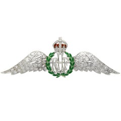 1935 Antique Diamond and Enamel White Gold RAF Sweetheart Brooch
