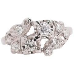 1935 Art Deco 0.50 Carat Total Weight Diamond, 14 Karat White Gold Ring