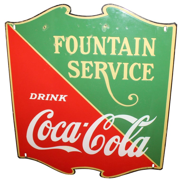 "1935 Coca Cola ""Fountain Service"" Porcelain Shield Single Sided Sign For Sale"
