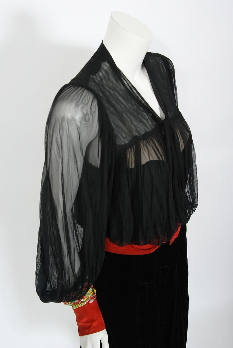 Black 1935 House of Worth Haute-Couture Beaded Velvet & Silk Illusion Belted Dress For Sale