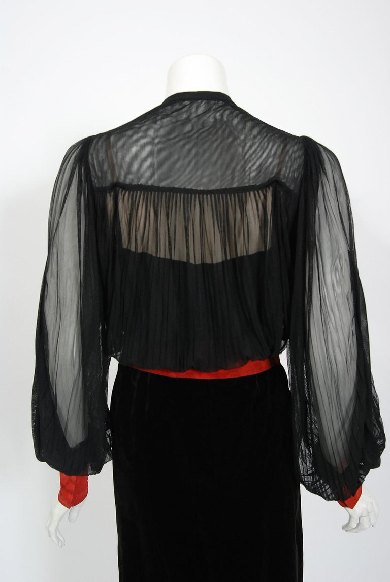 1935 House of Worth Haute-Couture Beaded Velvet & Silk Illusion Belted Dress For Sale 3