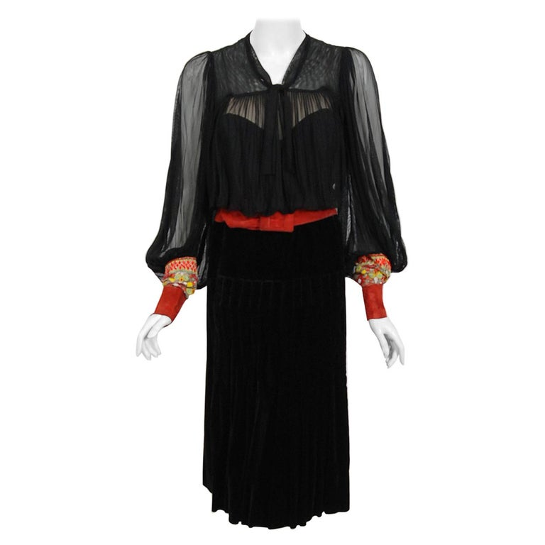 1935 House of Worth Haute-Couture Beaded Velvet & Silk Illusion Belted Dress For Sale